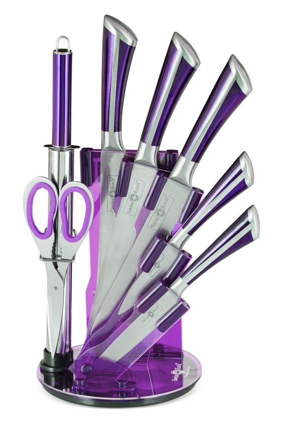 8pc Professional Swiss Design Kitchen Knife Set With Acrylic Stand - x4 Colours Available (Purple): Amazon.co.uk: Kitchen & Home