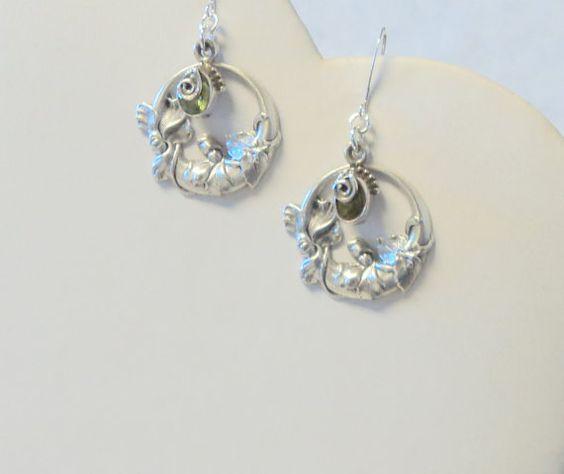 Peridot in Bloom Silver Dangle Earrings by TAKJewelryDesigns, $22.00