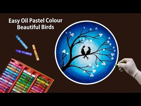 Beautiful Birds Scenery Drawing With Oil Pastels Part 2 Blue Colour Combination Youtube Oil Pastel Oil Pastel Colours Oil Pastel Drawings