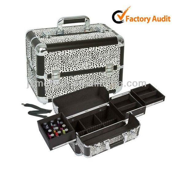 Leopard Makeup Cosmetic Train Case Kit Box Organizer Trays Nail ...