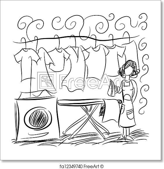 Free Art Print Of Laundry Service Drawing Free Art Prints Small