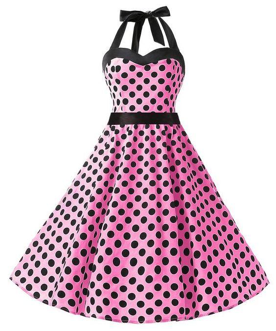Dresstells Halter 1950s Rockabilly Polka Dots Dress Petticoat ...