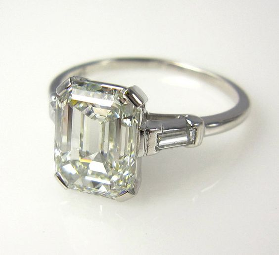Everlasting Classic...3.27ct Estate Vintage Emerald Cut Diamond  with 2 Baguettes Platinum Engagement , Wedding, Anniversary Ring, EGL USA