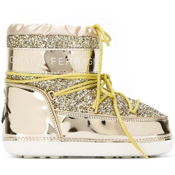 Chiara Ferragni 'Flirting' snow boots ($367) ❤ liked on Polyvore featuring shoes, boots, grey, flat shoes, laced up boots, grey lace up boots, snow boots and glitter snow boots