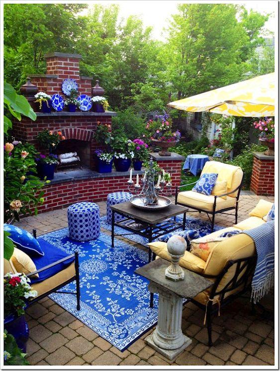 Blue and White Backyard