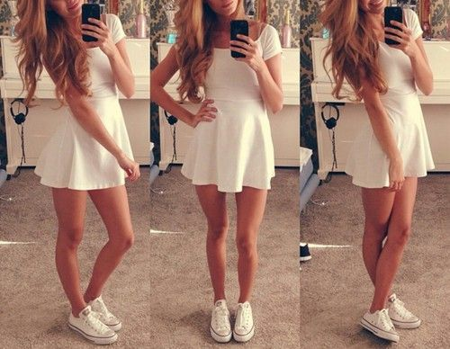 Summer dress and converse pink