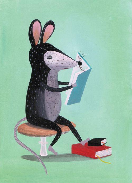 Bookworm / Ratón de biblioteca (ilustración de Két Egér) #biblioteques_UVEG