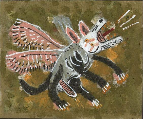 """""""Perro alado"""" Acrílico, tinta de marcador y corrector líquido sobre lienzo 22,1 x 18,4 cm aprox 2015"""