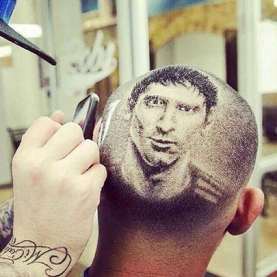 Corte de pelo con la imagen de Messi