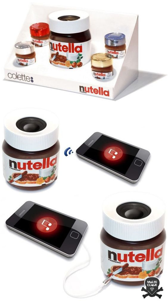 NUTELLA speakers... Really, man, really?!? Lol ^_^: Bluetooth Speakers, De Nutella, Gadgets Technology, Nutella Speakers, Nutella Lovers, Nutella Bluetooth, Men S Gifts, Technology Science, Hamir Nutella