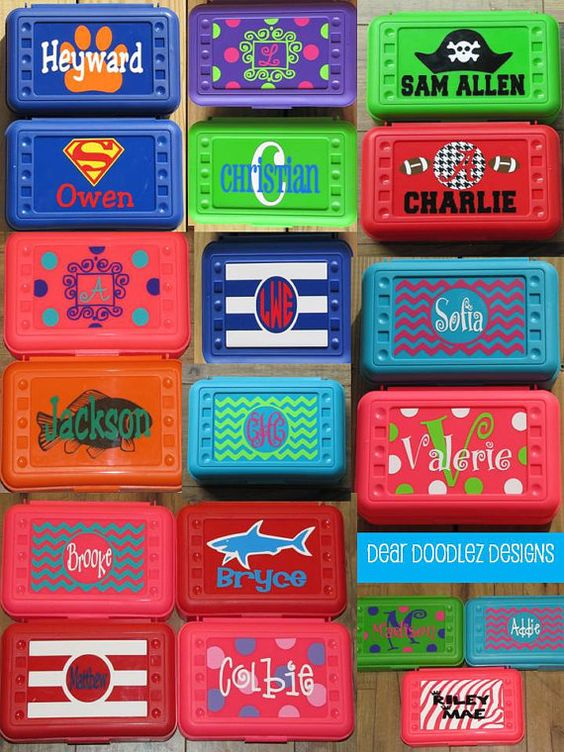 BACK to SCHOOL Personalized Pencil Box and Art Supply Box - 10 vibrant colors - Many designs - Dots, CHEVRON, etc on Etsy, $7.50