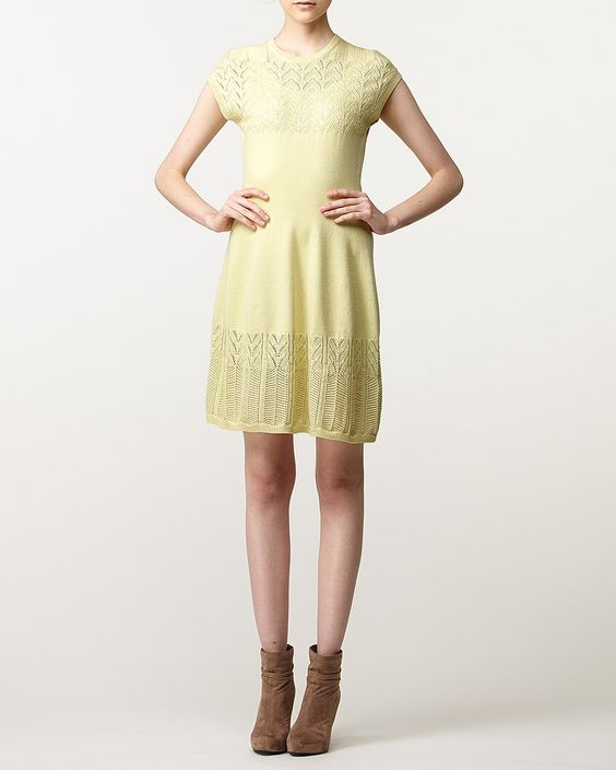 Cacharel, yellow knit dress