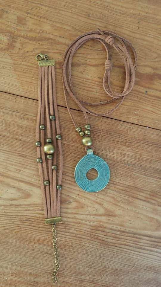 conjunto de colgante y pulsera de cuero y bronce by TantuStyle: