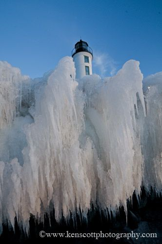 A frozen Point Betsie Lighthouse, Benzie County, Michigan
