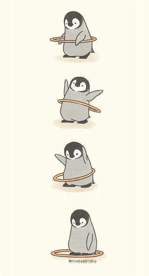 Hula Hooping Penguin Cute Cartoon Wallpapers Cute Cartoon Cute Animal Drawings