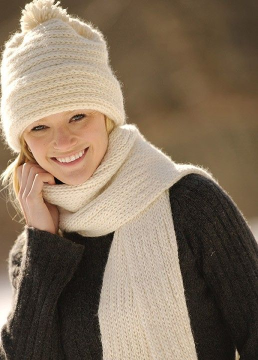 Mary Maxim - Classic Merino Hat and Scarf Pattern - Free Patterns - Patterns & Books