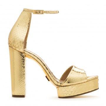 Michael Kors gold high-heeled sandals crude python