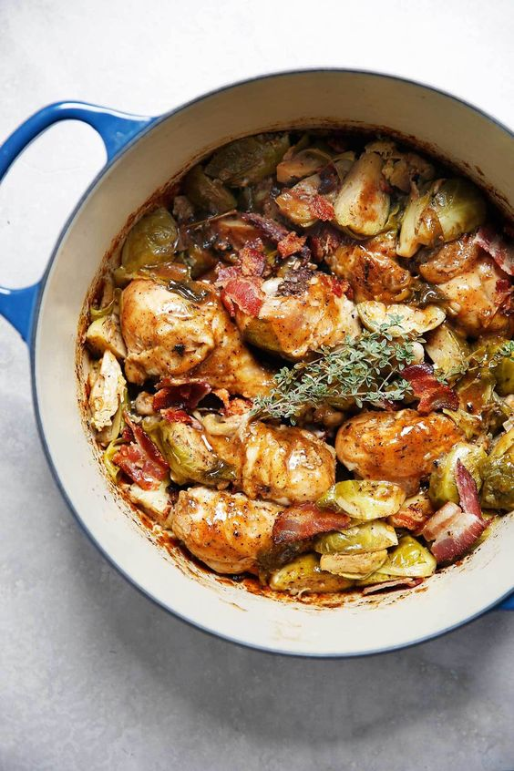 One-Pot Apple Cider Braised Chicken with Brussels Sprouts and Bacon