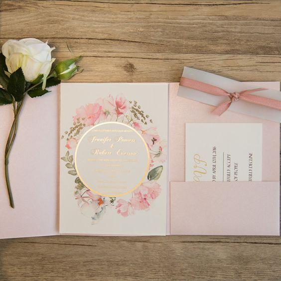 Partecipazioni Matrimonio Wedding.Partecipazioni Matrimonio Tema Romantico Rosa Inviti Per
