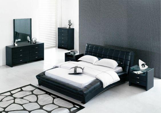 design betten schwarz leder cooler teppich weiße wandfarbe schwarze kommoden