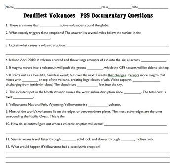 Worksheets Inside Planet Earth Video Questions Key earth science student and high schools on pinterest questions key detailed documentary volcanoes pbs active involves deadliest volcan