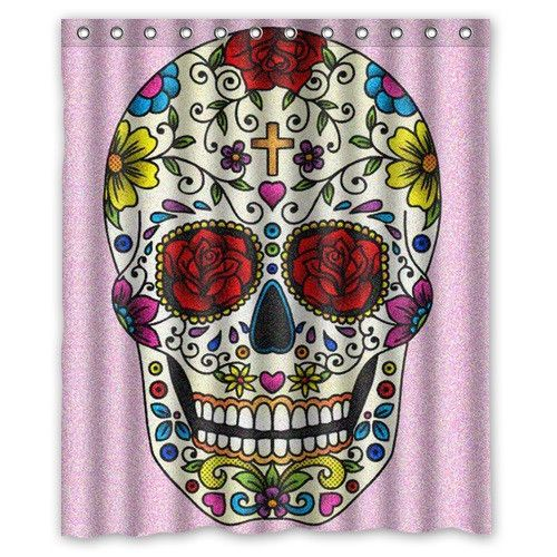 "60"" x 72"" Skull Themed Shower Curtains"