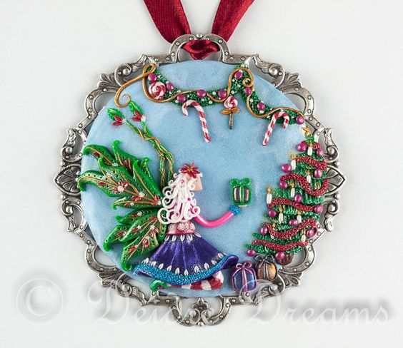 Hey, I found this really awesome Etsy listing at https://www.etsy.com/listing/126090932/christmas-fairy-pendant-mini-painting