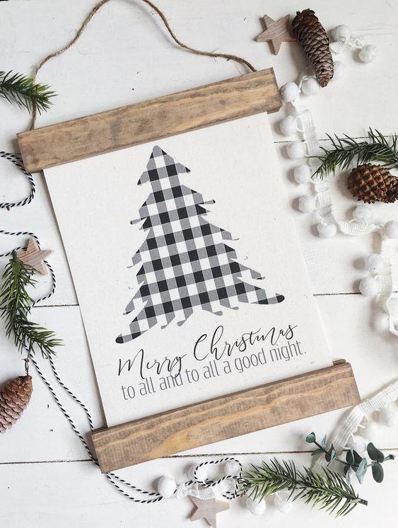 Christmas art/buffalo check/christmas tree/merry christmas/christmas decor/christmas wall art/wall art/farmhouse art