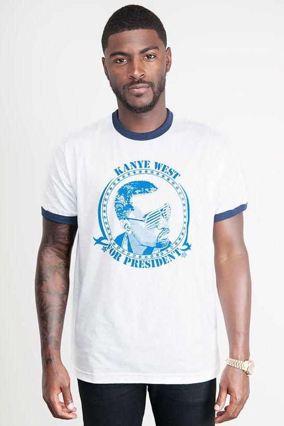 Kanye West For President T-Shirt – Blue on White Ringer