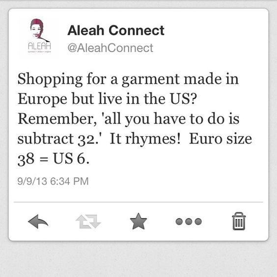 European to US size conversion tip.   Cool   Pinterest   Foto ...