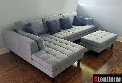 3pc Contemporary Grey Microfiber Sectional Sofa Chaise Ottoman S168lg Kiku Home Microfiber Sectional Sofa Microfiber Sectional Fabric Sectional Sofas