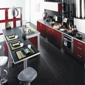 meuble de cuisine delinia composition type cherry rouge gourmand n1 brillant - Leroy Merlin Cuisine Moderne Gris Fance