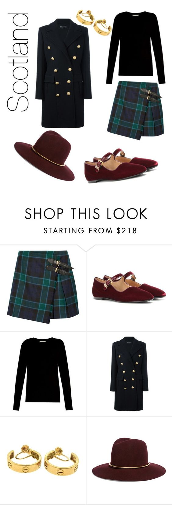 """""""Royal Trip To Scotland"""" by v-schlesinger ❤ liked on Polyvore featuring Burberry, The Row, Vince, Balmain, Cartier and Janessa Leone"""