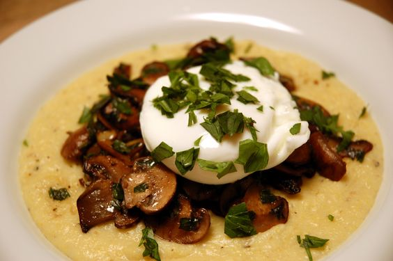 Garlic-sautéed Mushrooms and Poached Egg over Polenta | Poached Eggs ...