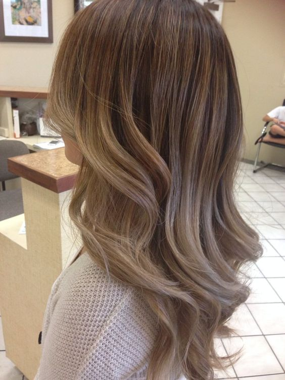 Ashy balayage ombré with a chocolatey base