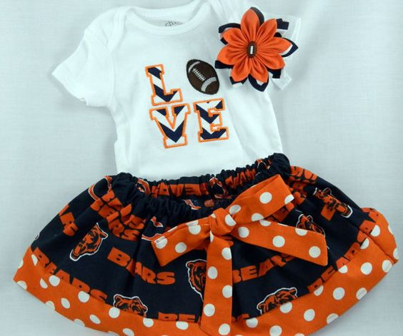 Chicago Bears NFL Embroidered onesie skirt by TheVogueBabyBoutique, $40.00