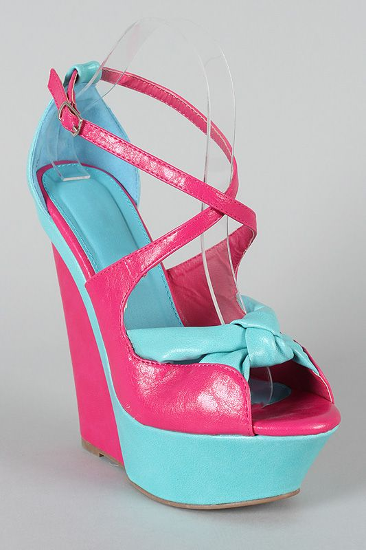 $13, Aurora-03 Two Tone Knotted Criss Cross Wedge.