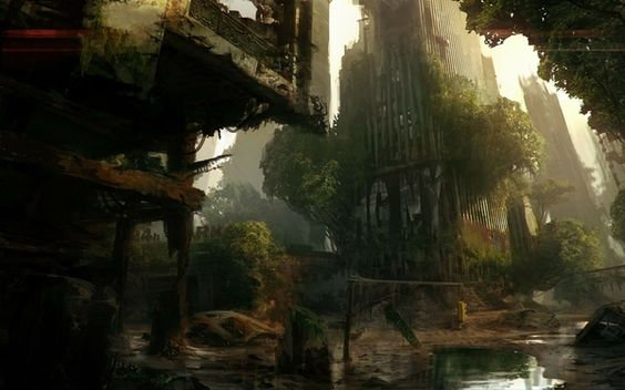 water video games trees ruins futuristic destruction buildings video crytek abandoned city abandoned reflections crysis 3 desolate game_wall...: