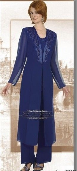 Free shippingChiffon Royal Blue mother of the bride pants suits with classic long jacket