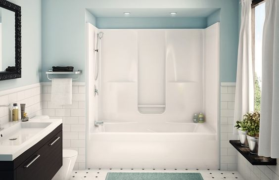 AKER SBW-3672. One-piece gelcoated fiberglass tub-shower.Built-in back wall shelves with integrated soap dish.Standard clear acrylic bar.Right or left-hand drain.Textured floor. Alcove installation.