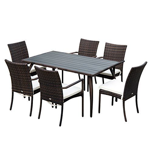 6 Seater Outdoor Dining Set Brown