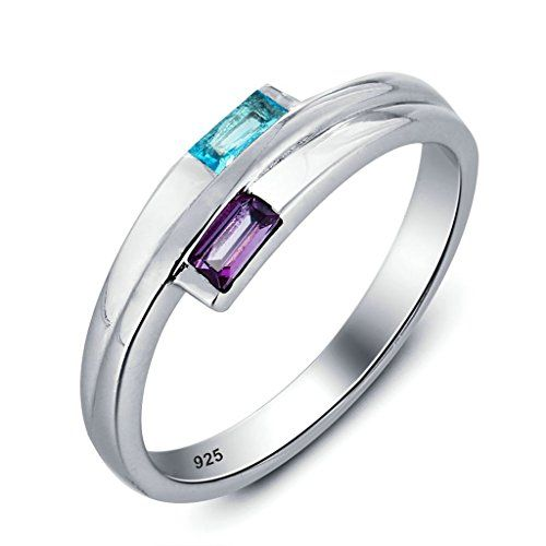 Daesar Silber Verlobungsringe Frauen Offener Ring Rechteck Zirkonia Ring 4MM Größe:54 (17.2)