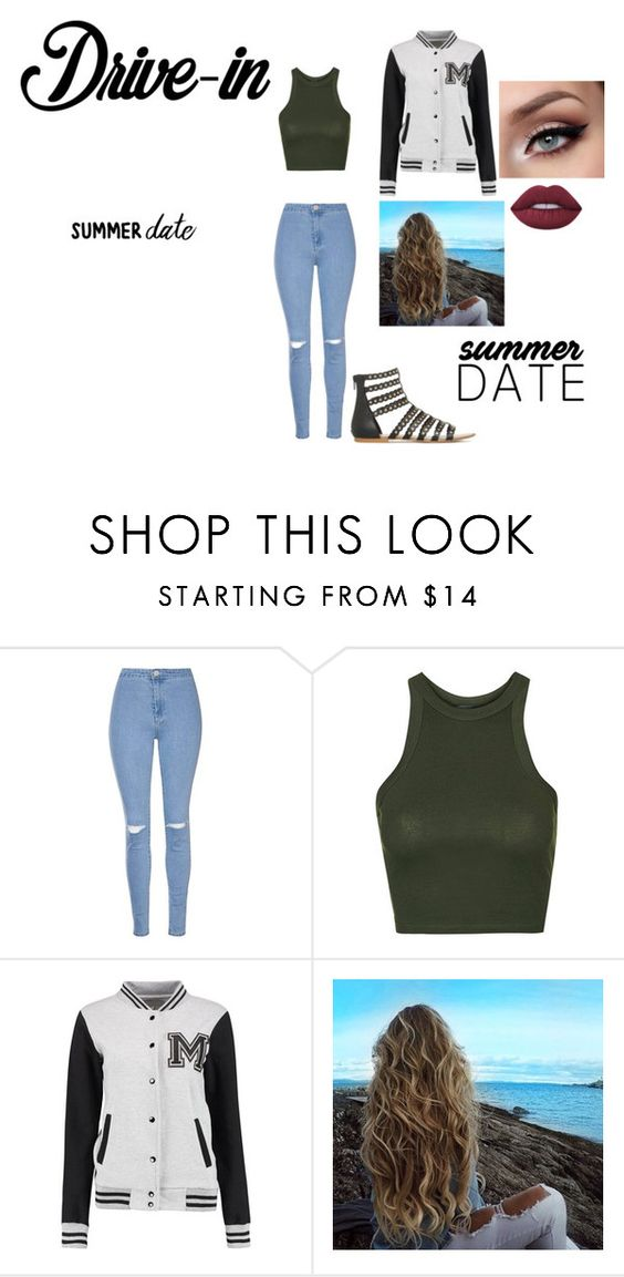 """yaass"" by crazibunniz on Polyvore featuring Glamorous, Topshop, Lime Crime, DateNight, drivein and summerdate"