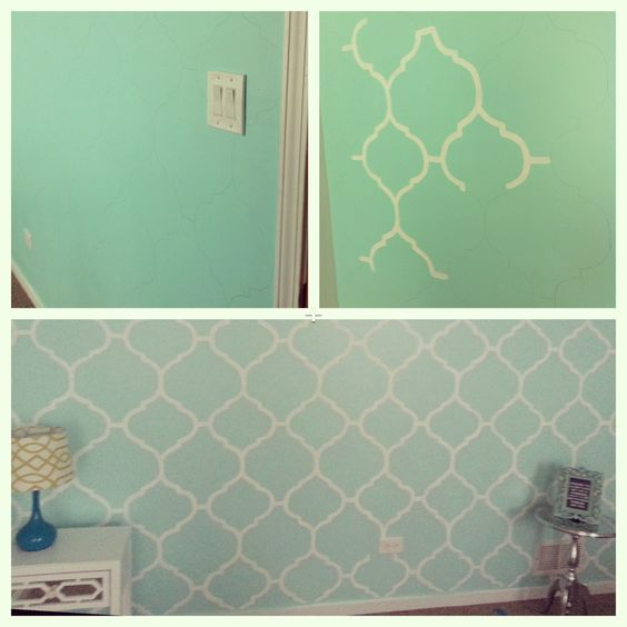 My Mint Green Bedroom Accent Wall Freehand Painting Diy Apartment Pinterest Wall Ideas