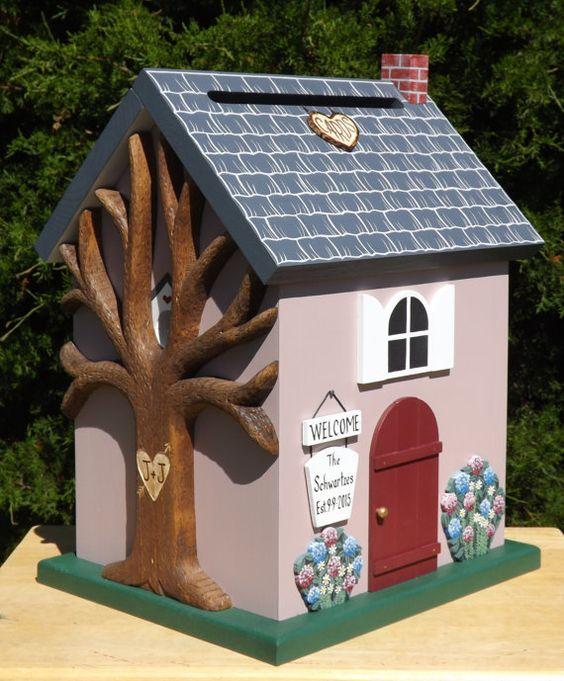 Large Wedding Card Box Cottage Birdhouse with Hydrangea Flowers – Large Wedding Card Box