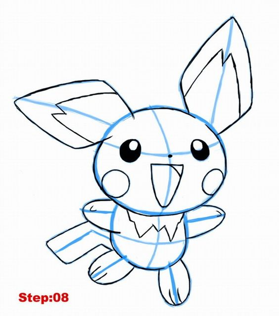 Drawing Pichu Tutorial Step :8 | Disney tekeningen ...