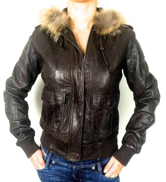 Brown leather jackets Fox fur and True religion on Pinterest