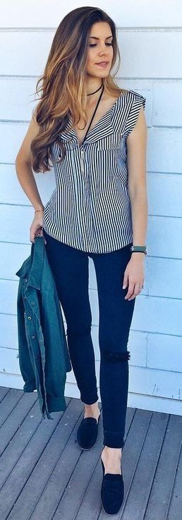#summer #trending #outfits |  Striped + Denim