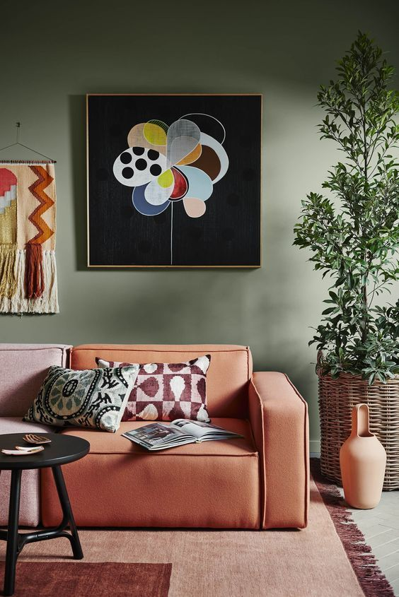 Dulux 2018 Paint Colour Forecast Kinship Olive Green Wall With Terracotta Sofa Colorful Interiors Dulux Colour Sage Green Walls