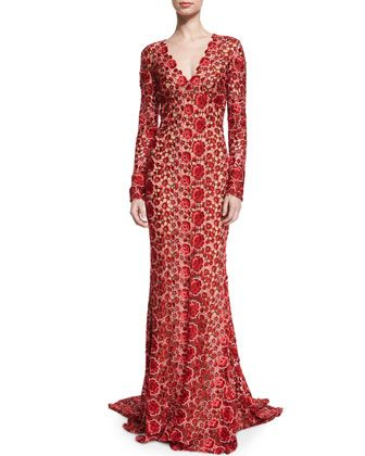 Long-Sleeve+V-Neck+Floral+Lace+Gown,+Red+by+Naeem+Khan+at+Bergdorf+Goodman.